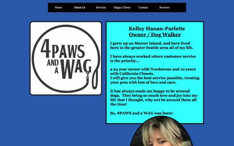 Screenshot of About Page 4pawsandawag.com - 4PAWS and a WAG - captured Sept. 21, 2018