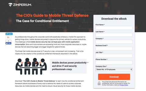 Screenshot of Landing Page zimperium.com - The CIO's Guide to Mobile Threat Defense - captured Sept. 19, 2018