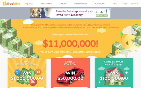 Screenshot of Home Page freelotto.com - Play Free Lottery Style Games & Sweepstakes to Win Money | FreeLotto - captured July 28, 2018