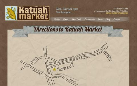 Screenshot of Maps & Directions Page katuahmarket.com - Directions to Katuah Market | Katuah Market - captured Sept. 30, 2014