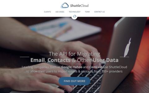 Screenshot of Home Page Privacy Page shuttlecloud.com - ShuttleCloud | The API for Migrating Email, Contacts & Other User Data - captured Feb. 16, 2017