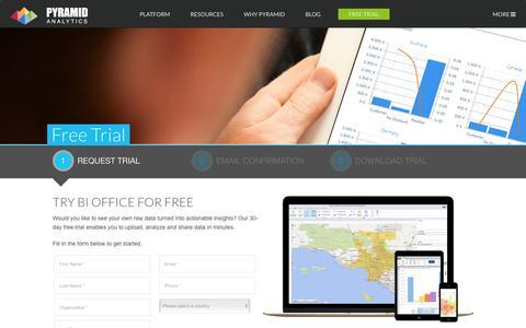 Screenshot of Trial Page pyramidanalytics.com - Trial Download | Pyramid Analytics - captured July 6, 2016