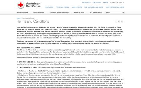 Screenshot of Terms Page redcross.org - Terms and Conditions | American Red Cross | Intellectual Property - captured June 17, 2015