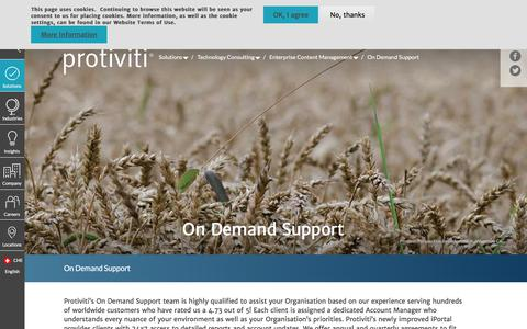 Screenshot of Support Page protiviti.com - On Demand Support | Protiviti - Switzerland - captured Dec. 3, 2019