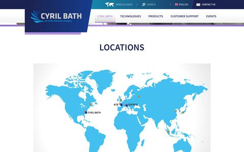 Screenshot of Locations Page cyrilbath.com - Locations | Cyril Bath - An Aries Alliance company - captured Sept. 30, 2018
