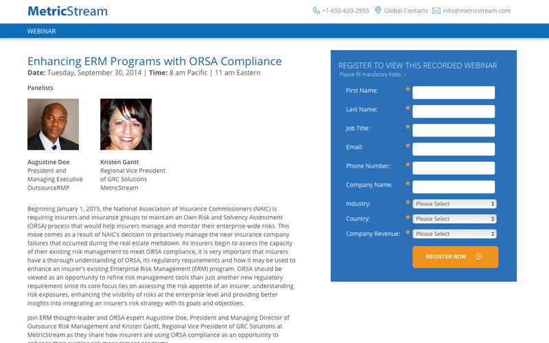 WEBINAR: Enhancing ERM Programs with ORSA Compliance