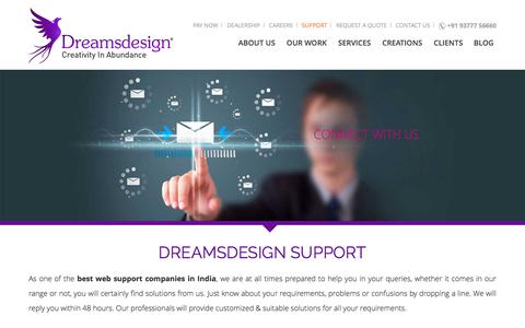 Screenshot of Support Page dreamsdesign.in - Dreams Design Support | Professional Web Service in India - captured June 5, 2017