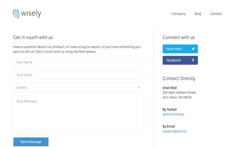 Screenshot of Contact Page wise.ly - Wisely   Contact - captured Sept. 19, 2014