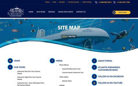 Screenshot of Site Map Page caymanislandssubmarines.com - Cayman Island Submarines Tours, Atlantis Submarine Specials, Submarine Dive In Cayman - captured April 16, 2019