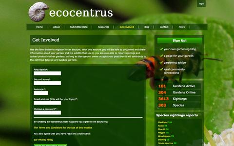 Screenshot of Signup Page ecocentrus.co.uk - ecocentrus - mapping urban wildlife for biodiversity: Get Involved - captured Sept. 26, 2014