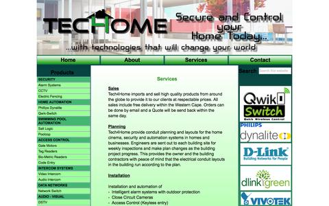 Screenshot of Services Page tech4home.co.za - Untitled Page - captured Oct. 9, 2014