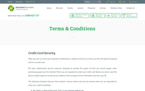 Screenshot of Terms Page auscontact.com.au - Terms & Conditions - Auscontact - captured Dec. 16, 2018