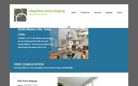 Screenshot of Home Page Menu Page integr8tivehomestaging.com - Integr8tive Home Staging   Staging Southern California - captured Sept. 30, 2014