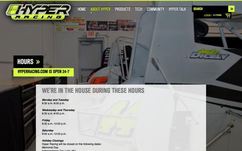 Screenshot of Hours Page hyperracing.com - Hours - Hyper Racing - captured Nov. 21, 2018