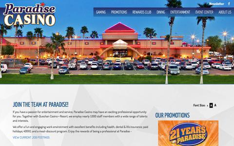 Screenshot of Jobs Page paradise-casinos.com - PARADISE CASINO - captured July 14, 2017