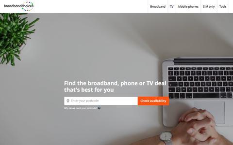 Screenshot of Home Page broadbandchoices.co.uk - Compare broadband deals and offers | broadbandchoices - captured Sept. 19, 2018