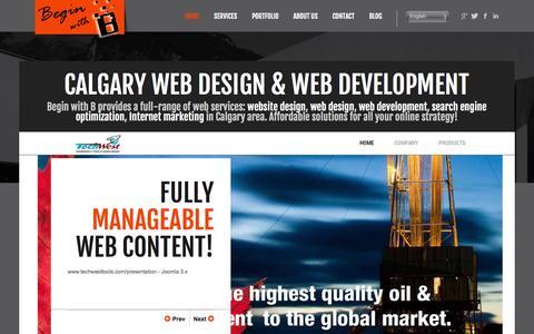 Screenshot of Home Page beginwithb.com - Calgary Web Designer & Web Developer | Begin with B - captured Sept. 30, 2014