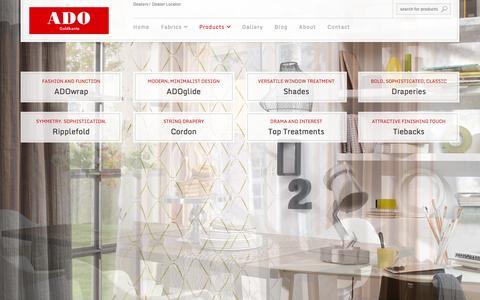Screenshot of Products Page ado-usa.com - Custom Window Treatments   ADO - captured Oct. 4, 2014