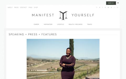 Screenshot of Press Page manifestyourself.com - Speaking + Press + Features - Manifest Yourself - captured Sept. 22, 2018