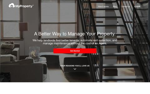 Screenshot of Home Page myproperty.com - Property Management Made Easy For Landlords - MyProperty - captured Jan. 23, 2015