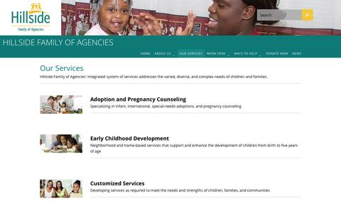 Screenshot of Services Page hillside.com - Our Services – Hillside Family of Agencies - captured Jan. 29, 2016