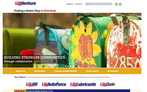 Screenshot of Home Page usventure.com - US Venture - Leader in the distribution of refined and renewable energy products, lubricants, and aftermarket tires and parts - captured Feb. 3, 2016