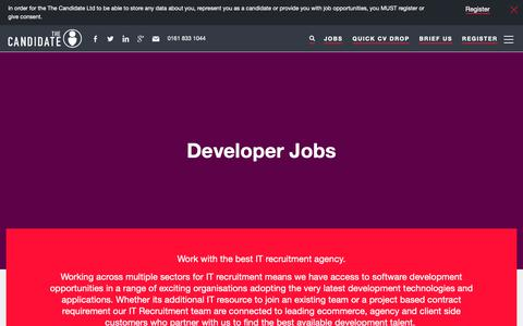 Screenshot of Developers Page thecandidate.co.uk - Developer Jobs | The Candidate | Manchester - captured Sept. 28, 2018