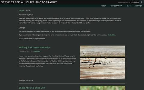 Screenshot of Blog stevecreek.com - Zenfolio | Steve Creek Wildlife Photography | Blog - captured Nov. 8, 2017