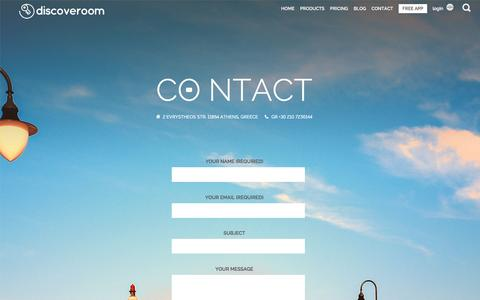 Screenshot of Contact Page discoveroom.com - Contact | Discoveroom - captured May 9, 2017