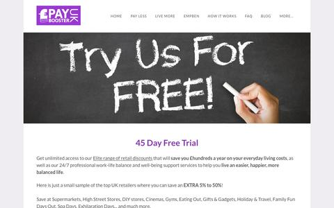 Screenshot of Trial Page payboosteruk.com - PayBoosterUK | Premier lifestyle perks for small business - Lifestyle Rewards and Professional Support Services - captured June 26, 2016