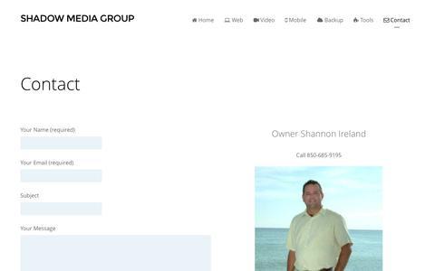Screenshot of Contact Page shadowmediagroup.com - Contact - Shadow Media Group - captured Oct. 26, 2014