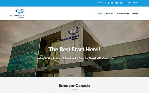 Screenshot of Home Page soneparcanada.com - Sonepar Canada – The Best Start Here! - captured Jan. 15, 2017