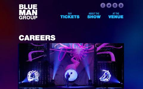 Screenshot of Jobs Page blueman.com - Careers - Official Site of Blue Man Group - captured Sept. 19, 2014