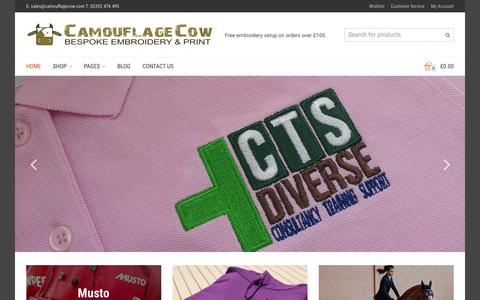 Screenshot of Home Page camouflagecow.com - Embroidery & Print - Camouflage Cow - captured Sept. 24, 2015