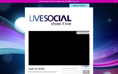 Screenshot of Home Page livesocial.tv - LiveSocial: share it live: Infusing real-time technologies and rich media into a social marketing platform - captured Dec. 10, 2015