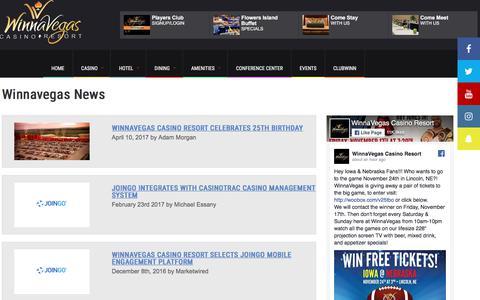 Screenshot of Press Page winnavegas.com - Winnavegas News and Events   Winnavegas Casino Resort   Sloan, Iowa - captured Nov. 16, 2017