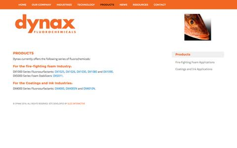 Screenshot of Products Page dynaxcorp.com - Products - Dynax Fluorosurfactants - captured Dec. 6, 2016