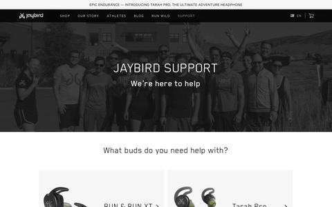 Screenshot of Support Page jaybirdsport.com - Official Jaybird Support - captured June 22, 2019