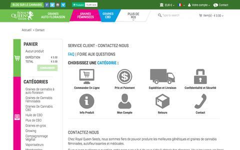 Screenshot of FAQ Page royalqueenseeds.fr - Contactez-nous - captured Sept. 24, 2018