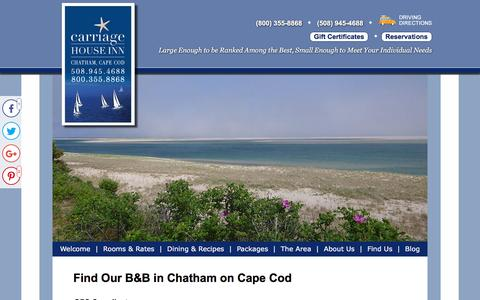 Screenshot of Contact Page Maps & Directions Page thecarriagehouseinn.com - Directions from Boston to Chatham in Cape Cod - captured June 23, 2016