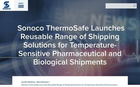 Screenshot of Press Page sonoco.com - Sonoco ThermoSafe Launches Reusable Range of Shipping Solutions for Temperature-Sensitive Pharmaceutical and Biological Shipments | Sonoco - captured Nov. 5, 2019