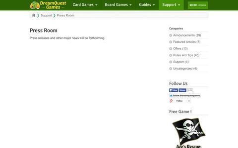 Screenshot of Press Page dreamquestgames.com - Press Room - DreamQuest Games - captured Sept. 30, 2014