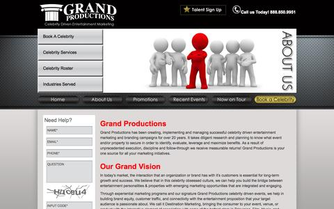 Screenshot of About Page thegrandproductions.com - Celebrity Booking Agency   About Grand Productions - captured Sept. 30, 2014