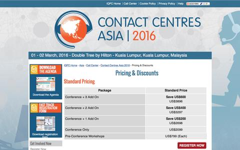 Screenshot of Pricing Page contactcentresasia.com - Contact Centres Asia 2016 - Pricing & Discounts - captured May 26, 2016