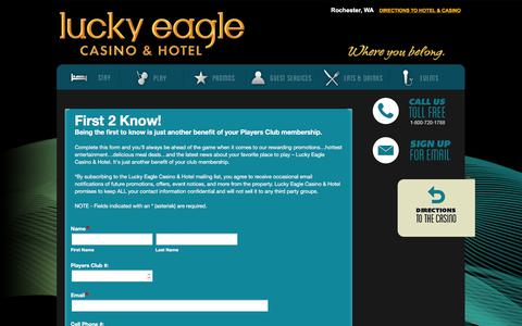 Screenshot of Signup Page luckyeagle.com - Sign Up | Lucky Eagle Casino - captured Sept. 19, 2017