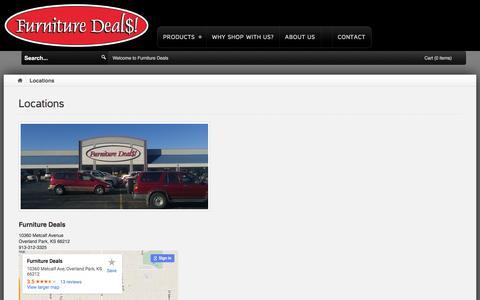 Screenshot of Locations Page furnituredeals.com - Locations - captured Jan. 17, 2016