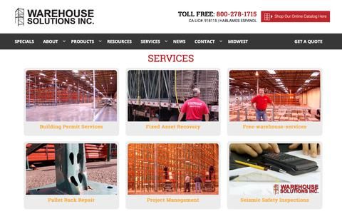 Screenshot of Services Page warehousesolutions.com - Warehouse Services | Warehouse Solutions, Inc. - captured Oct. 3, 2017