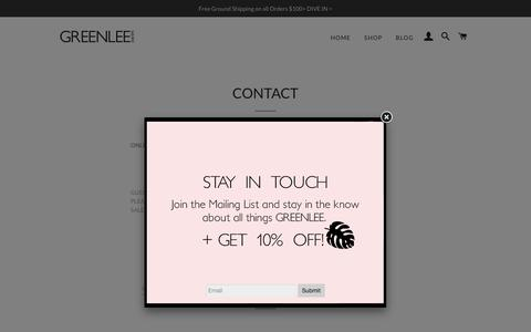 Screenshot of Contact Page greenleeswim.com - Greenlee Swim Contact Page. Say Hello! – GREENLEE SWIM - captured Oct. 22, 2018