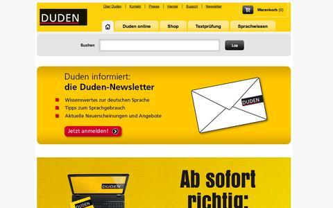 Screenshot of Home Page duden.de - Duden online - captured Sept. 19, 2014
