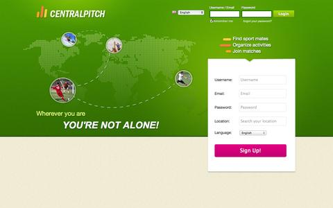 Screenshot of Signup Page centralpitch.com - CentralPitch - captured Oct. 28, 2014